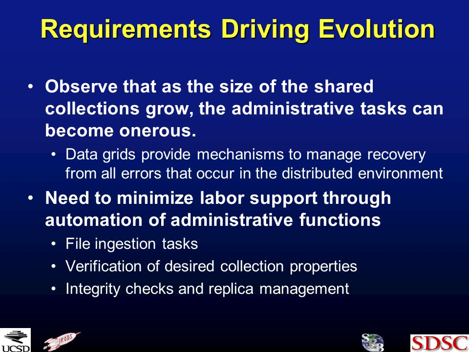 Requirements Driving Evolution Observe that as the size of the shared collections grow, the administrative tasks can become onerous. Data grids provid