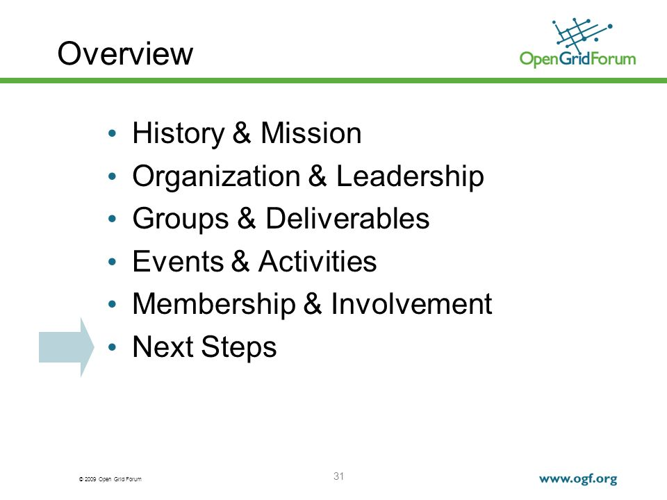 © 2009 Open Grid Forum 31 Overview History & Mission Organization & Leadership Groups & Deliverables Events & Activities Membership & Involvement Next Steps