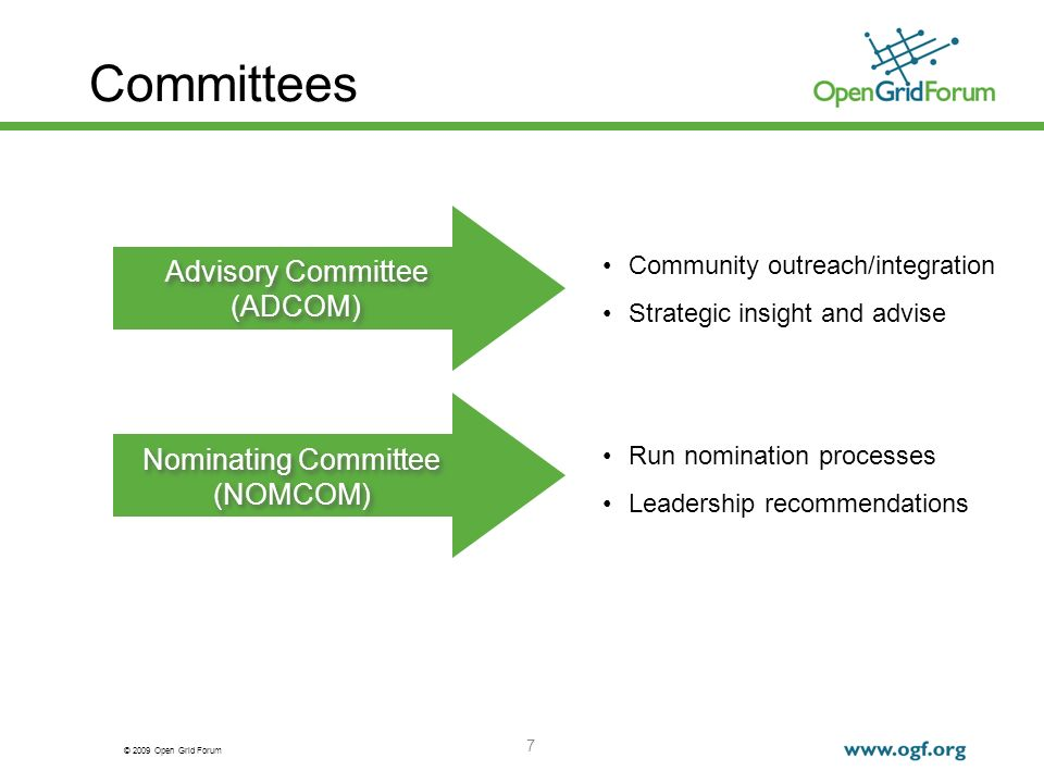 © 2009 Open Grid Forum 7 Committees Community outreach/integration Strategic insight and advise Run nomination processes Leadership recommendations Advisory Committee (ADCOM) Advisory Committee (ADCOM) Nominating Committee (NOMCOM) Nominating Committee (NOMCOM)