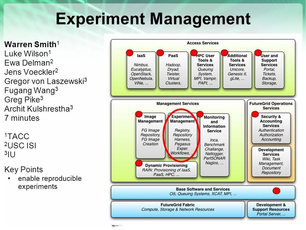 Experiment Management Warren Smith 1 Luke Wilson 1 Ewa Delman 2 Jens Voeckler 2 Gregor von Laszewski 3 Fugang Wang 3 Greg Pike 3 Archit Kulshrestha 3