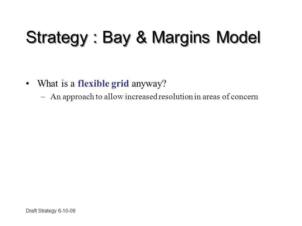 Draft Strategy 6-10-09 Strategy : Bay & Margins Model What is a flexible grid anyway.