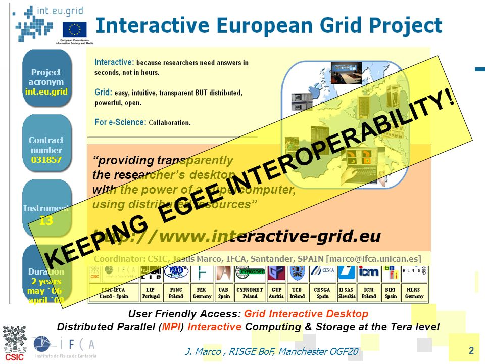 2 J. Marco, RISGE BoF, Manchester OGF20 Interactive European Grid (http://www.interactive-grid.eu) Project acronym int.eu.grid Contract number 031857