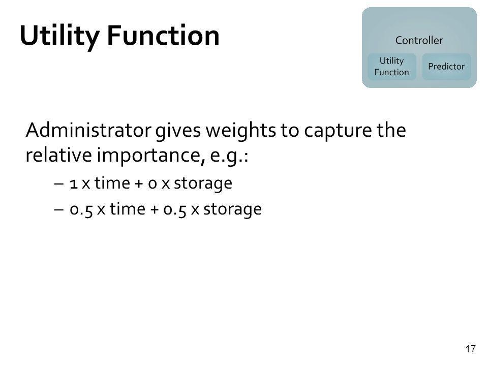 17 Utility Function Administrator gives weights to capture the relative importance, e.g.: –1 x time + 0 x storage –0.5 x time + 0.5 x storage