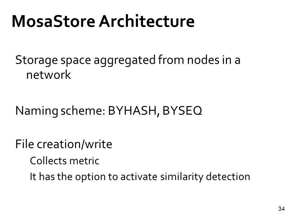 34 MosaStore Architecture Storage space aggregated from nodes in a network Naming scheme: BYHASH, BYSEQ File creation/write Collects metric It has the