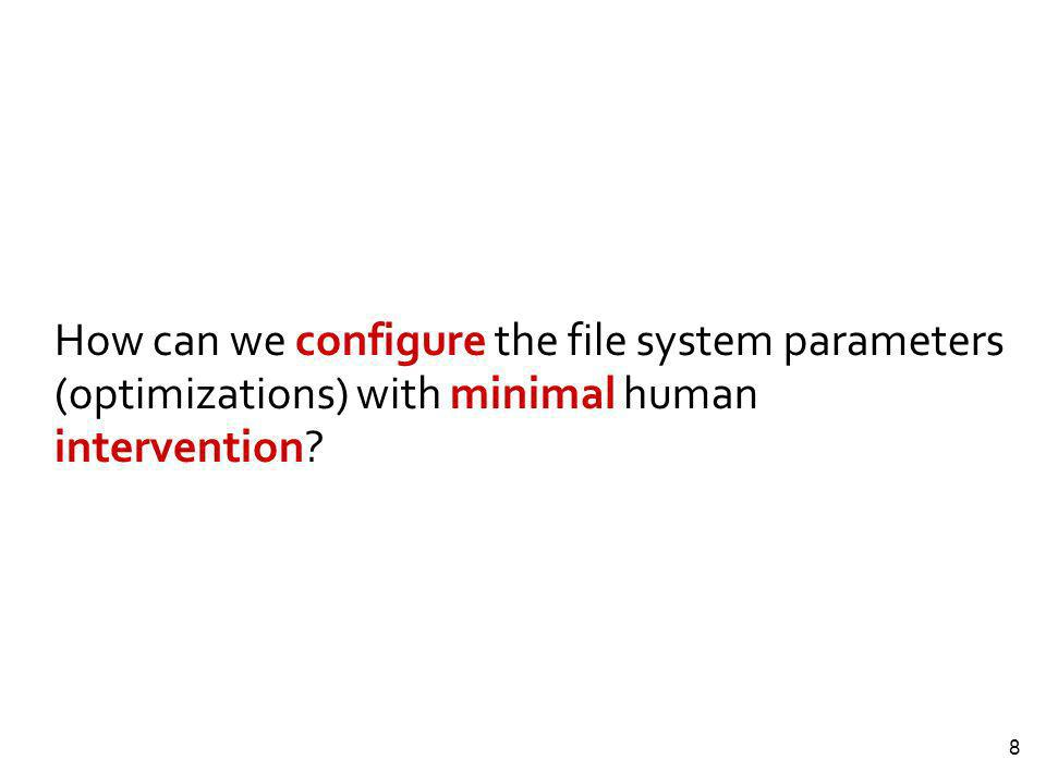 8 How can we configure the file system parameters (optimizations) with minimal human intervention?