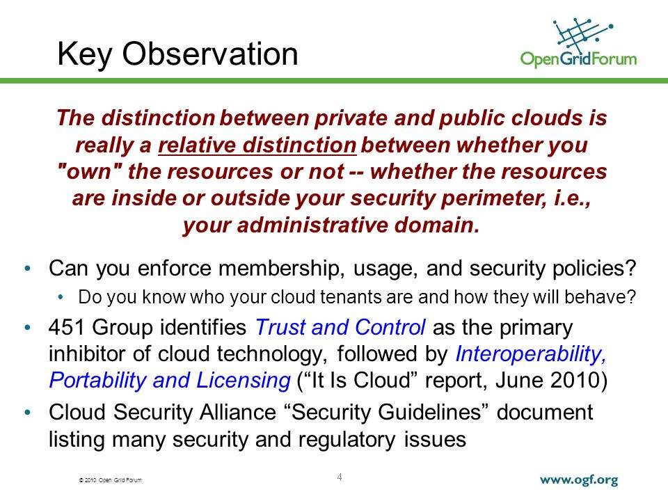 © 2010 Open Grid Forum Key Observation Can you enforce membership, usage, and security policies.