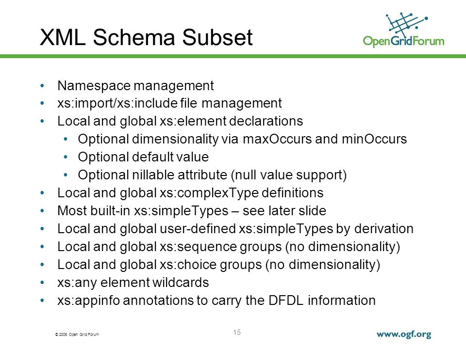 © 2006 Open Grid Forum 15 XML Schema Subset Namespace management xs:import/xs:include file management Local and global xs:element declarations Optiona