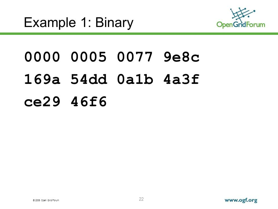 © 2006 Open Grid Forum 22 Example 1: Binary 0000 0005 0077 9e8c 169a 54dd 0a1b 4a3f ce29 46f6