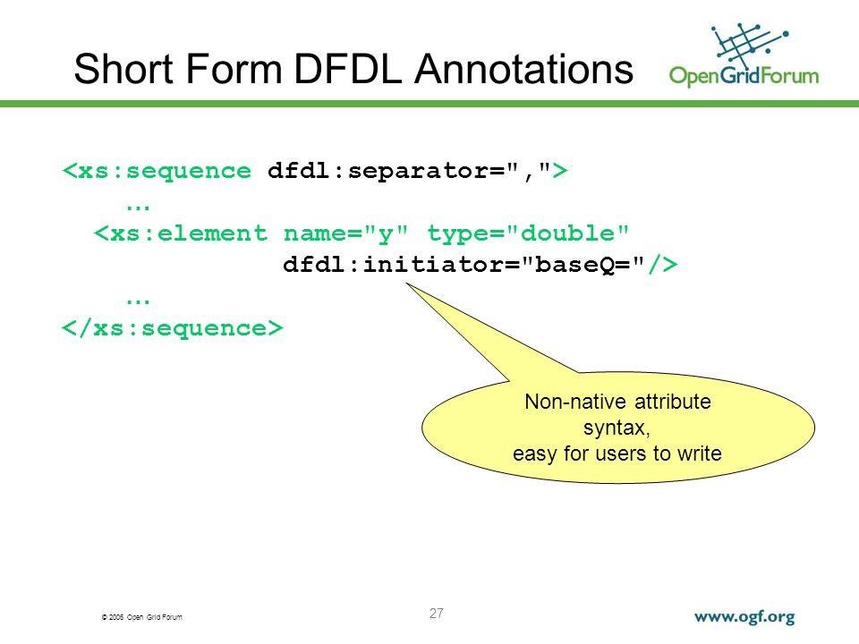 © 2006 Open Grid Forum 27 Short Form DFDL Annotations … <xs:element name=