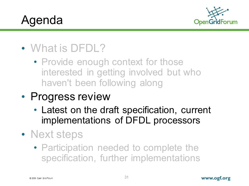 © 2006 Open Grid Forum 31 Agenda What is DFDL.