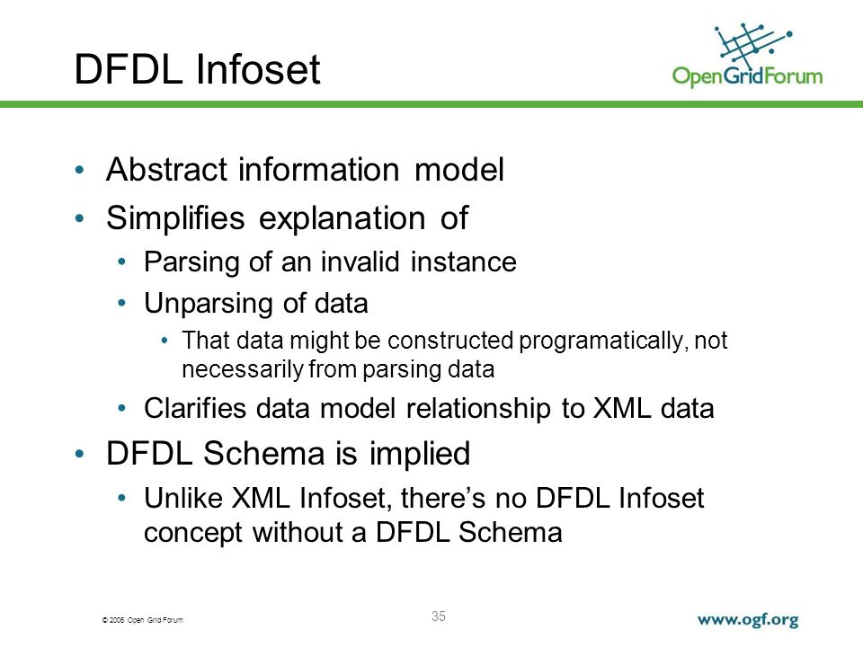 © 2006 Open Grid Forum DFDL Infoset Abstract information model Simplifies explanation of Parsing of an invalid instance Unparsing of data That data mi