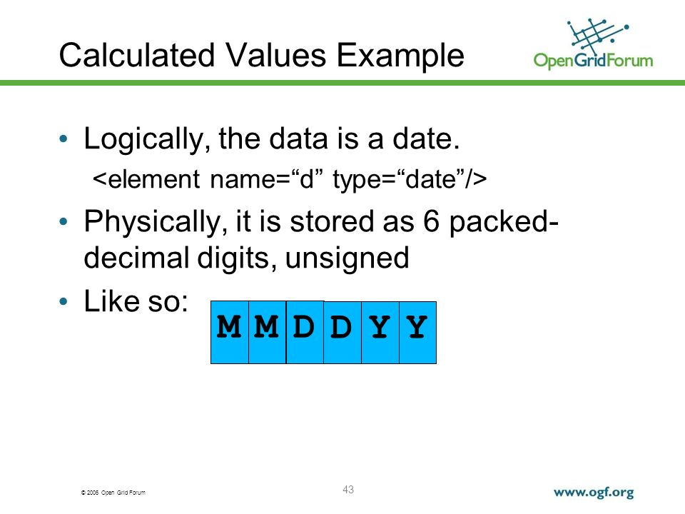 © 2006 Open Grid Forum Calculated Values Example Logically, the data is a date.