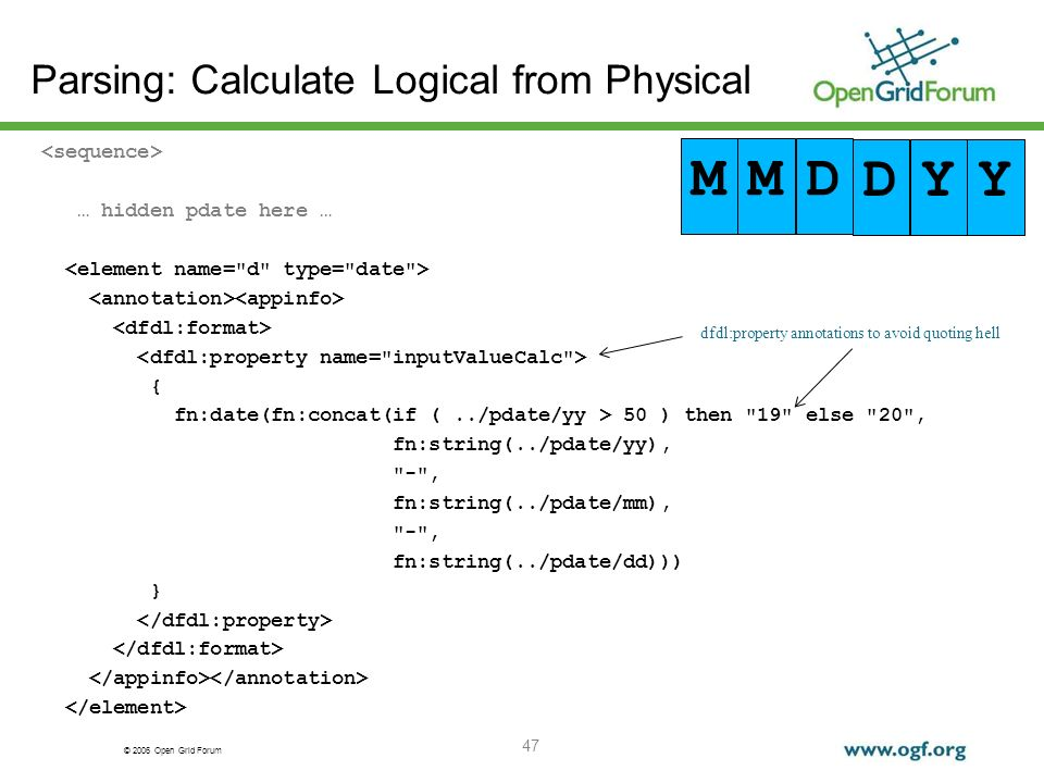 © 2006 Open Grid Forum Parsing: Calculate Logical from Physical … hidden pdate here … { fn:date(fn:concat(if (../pdate/yy > 50 ) then