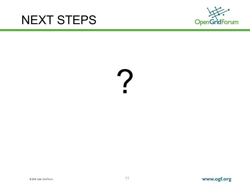 © 2006 Open Grid Forum 11 NEXT STEPS ?