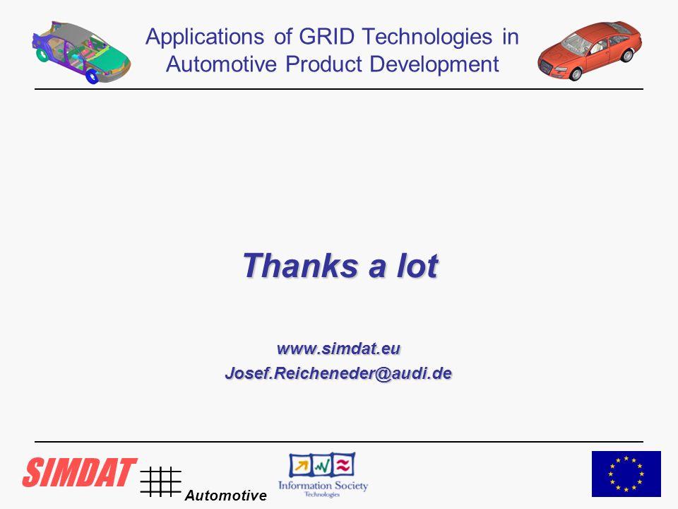 Automotive Thanks a lot www.simdat.euJosef.Reicheneder@audi.de Applications of GRID Technologies in Automotive Product Development