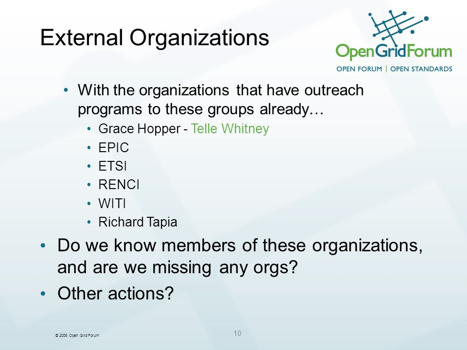 © 2006 Open Grid Forum 10 External Organizations With the organizations that have outreach programs to these groups already… Grace Hopper - Telle Whitney EPIC ETSI RENCI WITI Richard Tapia Do we know members of these organizations, and are we missing any orgs.