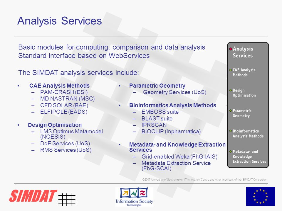 ©2007 University of Southampton IT Innovation Centre and other members of the SIMDAT Consortium Analysis Services CAE Analysis Methods –PAM-CRASH (ESI) –MD NASTRAN (MSC) –CFD SOLAR (BAE) –ELFIPOLE (EADS) Design Optimisation –LMS Optimus Metamodel (NOESIS) –DoE Services (UoS) –RMS Services (UoS) Parametric Geometry – Geometry Services (UoS) Bioinformatics Analysis Methods –EMBOSS suite –BLAST suite –IPRSCAN –BIOCLIP (Inpharmatica) Metadata- and Knowledge Extraction Services –Grid-enabled Weka (FhG-IAIS) –Metadata Extraction Service (FhG-SCAI) Basic modules for computing, comparison and data analysis Standard interface based on WebServices The SIMDAT analysis services include: