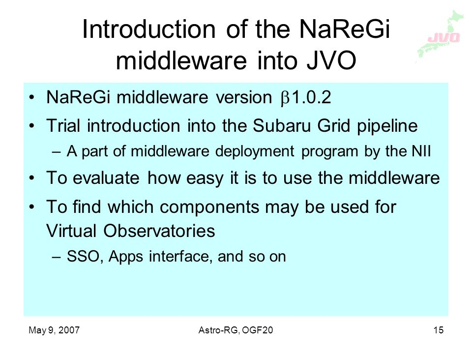 May 9, 2007Astro-RG, OGF20 15 Introduction of the NaReGi middleware into JVO NaReGi middleware version Trial introduction into the Subaru Grid pipeline –A part of middleware deployment program by the NII To evaluate how easy it is to use the middleware To find which components may be used for Virtual Observatories –SSO, Apps interface, and so on
