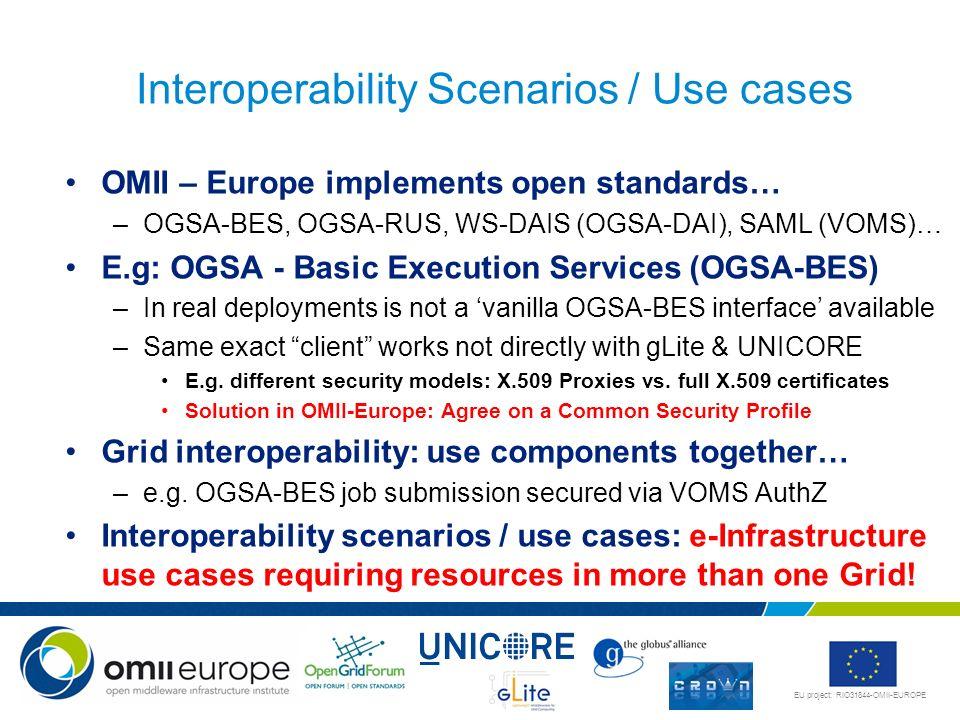 EU project: RIO31844-OMII-EUROPE OMII – Europe implements open standards… –OGSA-BES, OGSA-RUS, WS-DAIS (OGSA-DAI), SAML (VOMS)… E.g: OGSA - Basic Exec