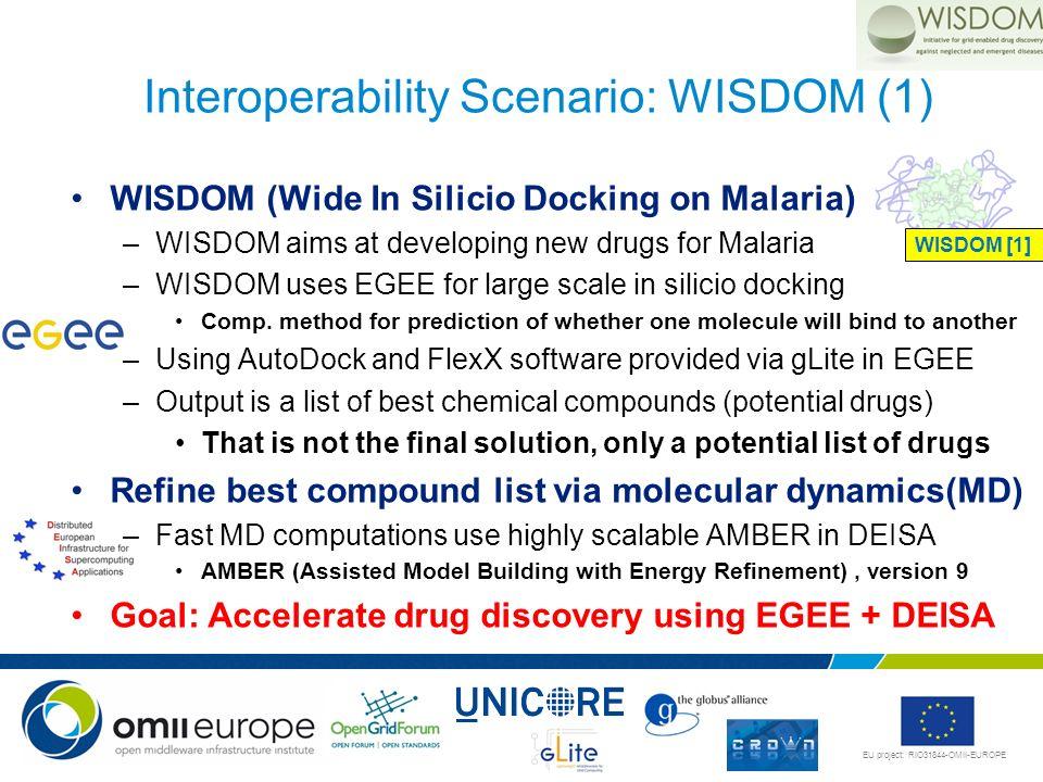 EU project: RIO31844-OMII-EUROPE WISDOM (Wide In Silicio Docking on Malaria) –WISDOM aims at developing new drugs for Malaria –WISDOM uses EGEE for la