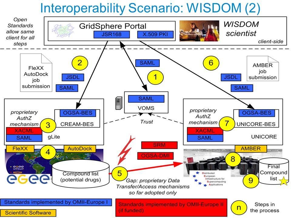 EU project: RIO31844-OMII-EUROPE Interoperability Scenario: WISDOM (2)