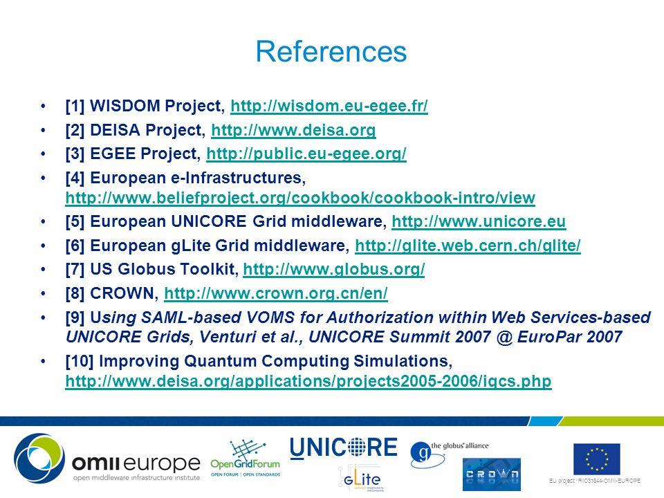 EU project: RIO31844-OMII-EUROPE References [1] WISDOM Project, http://wisdom.eu-egee.fr/http://wisdom.eu-egee.fr/ [2] DEISA Project, http://www.deisa