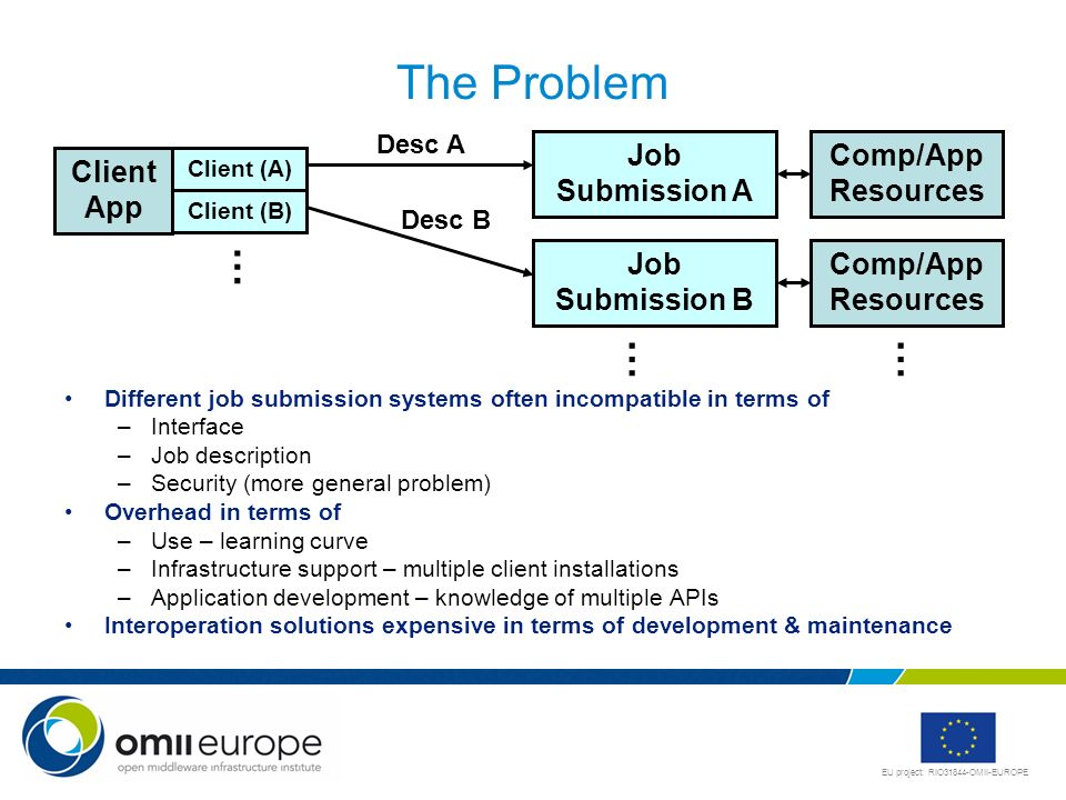 EU project: RIO31844-OMII-EUROPE The Problem Different job submission systems often incompatible in terms of –Interface –Job description –Security (mo