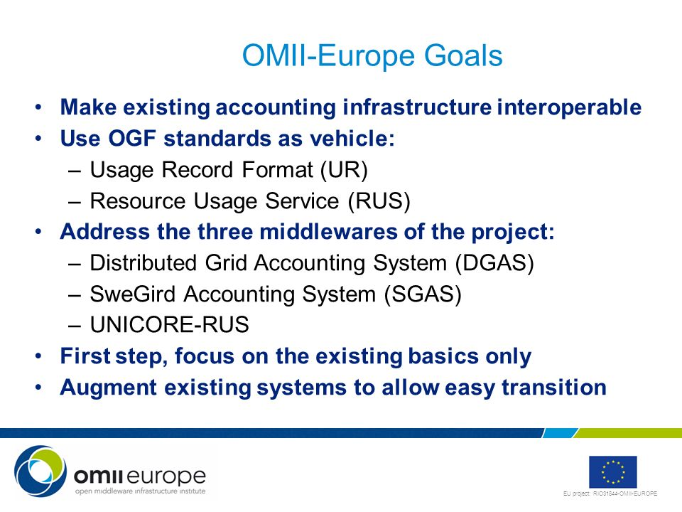 EU project: RIO31844-OMII-EUROPE OMII-Europe Goals Make existing accounting infrastructure interoperable Use OGF standards as vehicle: –Usage Record F