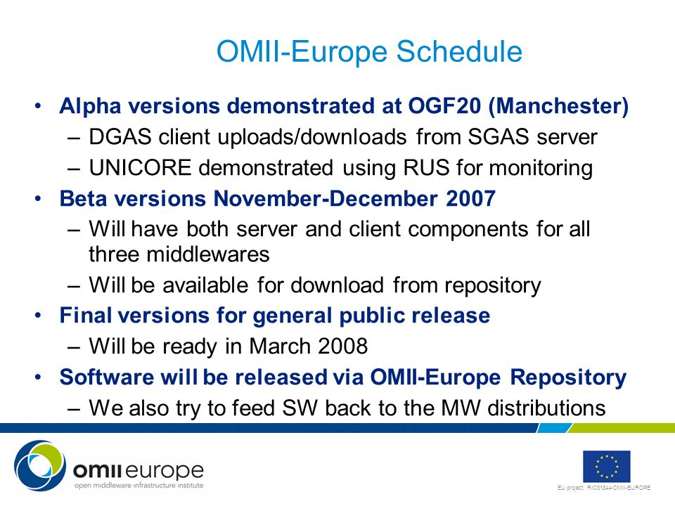 EU project: RIO31844-OMII-EUROPE OMII-Europe Schedule Alpha versions demonstrated at OGF20 (Manchester) –DGAS client uploads/downloads from SGAS serve