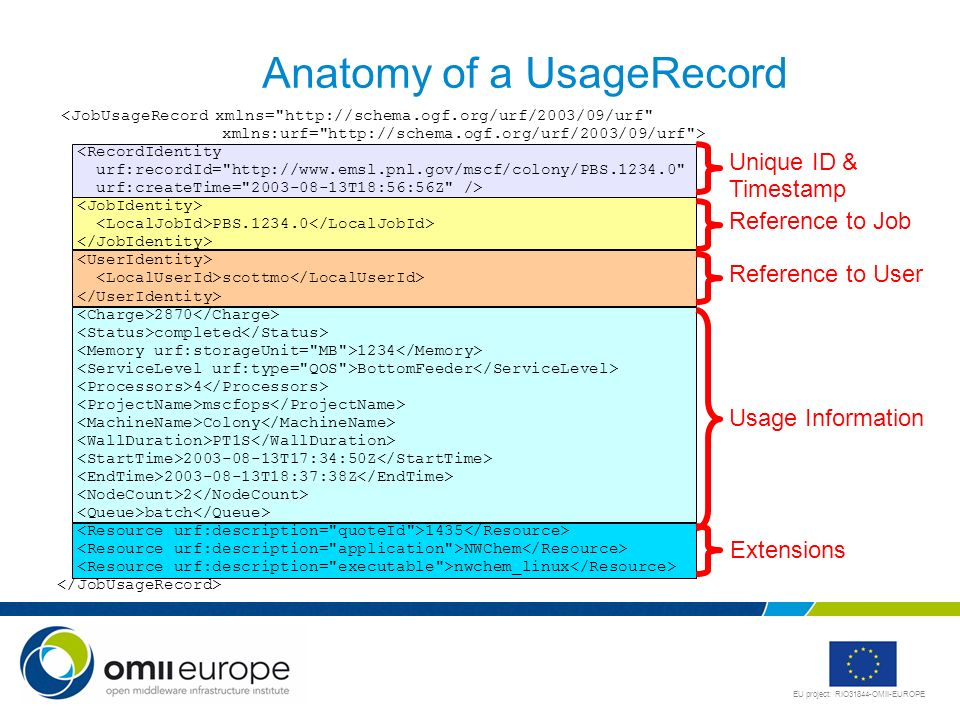 EU project: RIO31844-OMII-EUROPE Anatomy of a UsageRecord <JobUsageRecord xmlns=