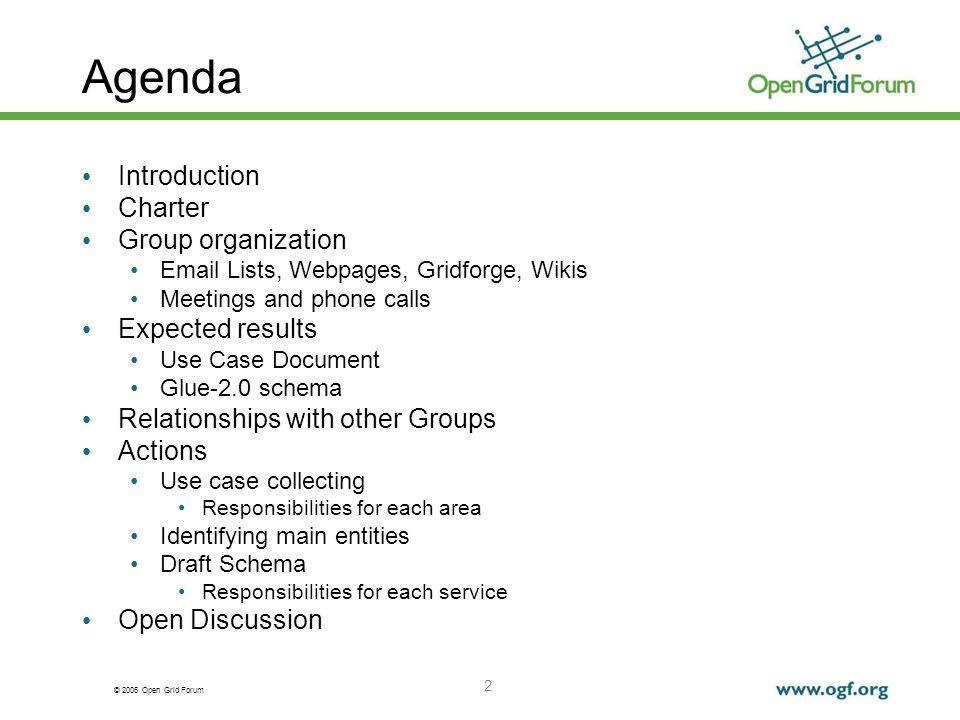 © 2006 Open Grid Forum 13 SD Meeting Dec 2006 Selecting services requires service specific information A schema needs to be defined for each service type Dynamic Vs Static Attributes All attributes can change Different is the expected frequency Schema design needs to take into consideration expected frequency.