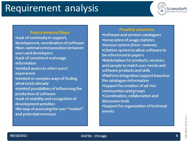 EMI INFSO-RI-261611 Requirement analysis Requirements/Gaps Lack of continuity in support, development, coordination of software Non-optimal communication between users and developers Lack of consistent real usage information Limited access to other users experience Limited or complex ways of finding what exists already Limited possibilities of influencing the production of software Lack of visibility and recognition of development activities No way of assessing the user market and potential revenues Possible solutions Software and services catalogues Generation of usage statistics Honour system (Peer-reviews) Citation system to allow software to be referenced in papers Marketplace for products, services, and people to match user needs and software products and skills Platform integration support based on the catalogues information Support for creation of ad-hoc communities and groups Coordination, collaboration and discussion tools Support for organization of technical events 09/10/2012 OGF36 - Chicago 8