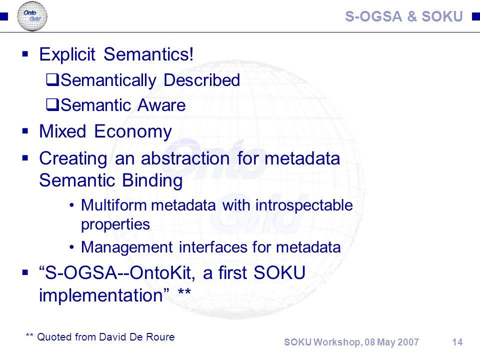 14SOKU Workshop, 08 May 2007 S-OGSA & SOKU Explicit Semantics.