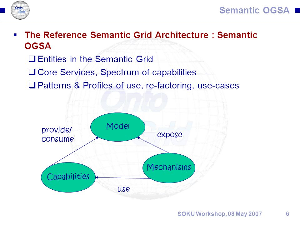 6SOKU Workshop, 08 May 2007 Semantic OGSA The Reference Semantic Grid Architecture : Semantic OGSA Entities in the Semantic Grid Core Services, Spectrum of capabilities Patterns & Profiles of use, re-factoring, use-cases Model Capabilities Mechanisms provide/ consume expose use