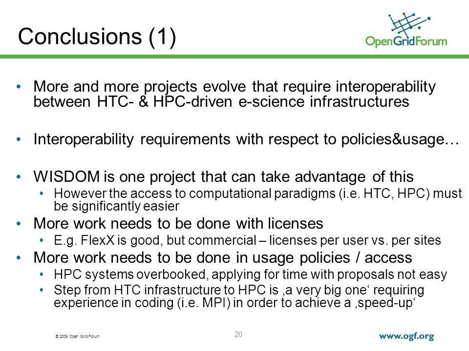 © 2009 Open Grid Forum 20 More and more projects evolve that require interoperability between HTC- & HPC-driven e-science infrastructures Interoperability requirements with respect to policies&usage… WISDOM is one project that can take advantage of this However the access to computational paradigms (i.e.