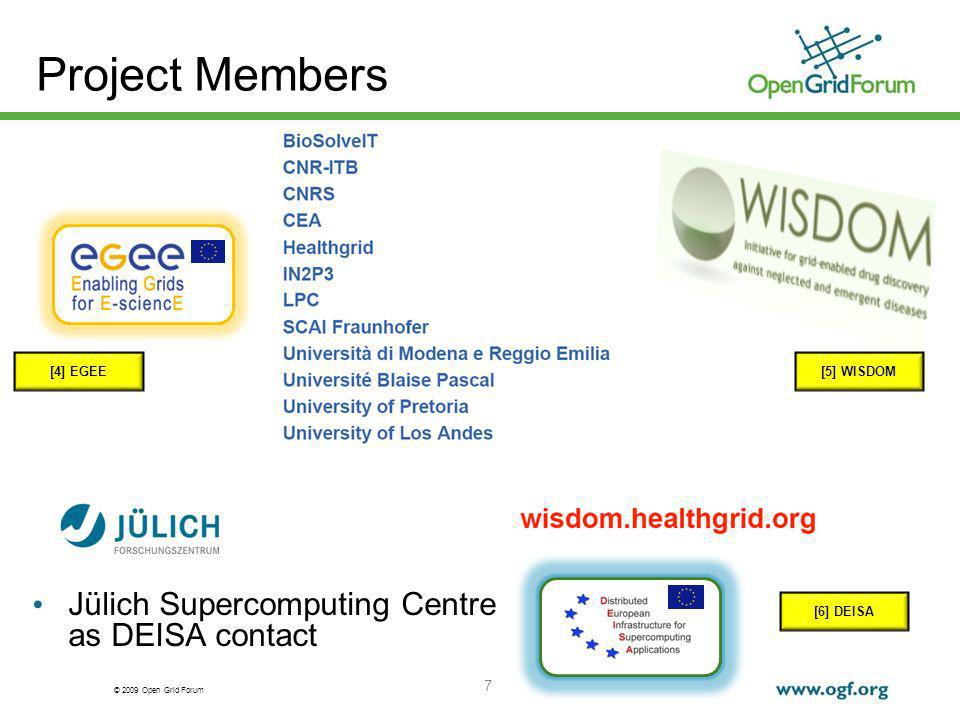 © 2009 Open Grid Forum 7 Jülich Supercomputing Centre as DEISA contact Project Members [4] EGEE[5] WISDOM [6] DEISA