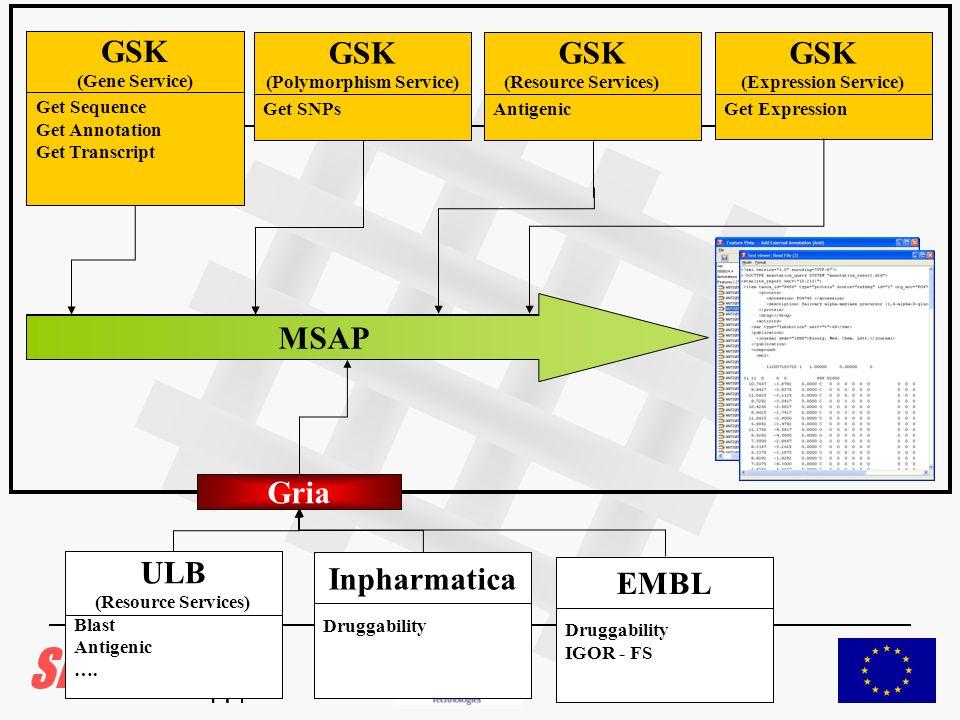 Get Expression GSK (Expression Service) Get SNPs GSK (Polymorphism Service) Get Sequence Get Annotation Get Transcript GSK (Gene Service) MSAP Antigen