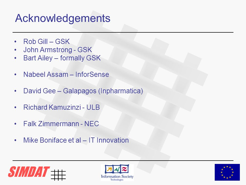Acknowledgements Rob Gill – GSK John Armstrong - GSK Bart Ailey – formally GSK Nabeel Assam – InforSense David Gee – Galapagos (Inpharmatica) Richard Kamuzinzi - ULB Falk Zimmermann - NEC Mike Boniface et al – IT Innovation