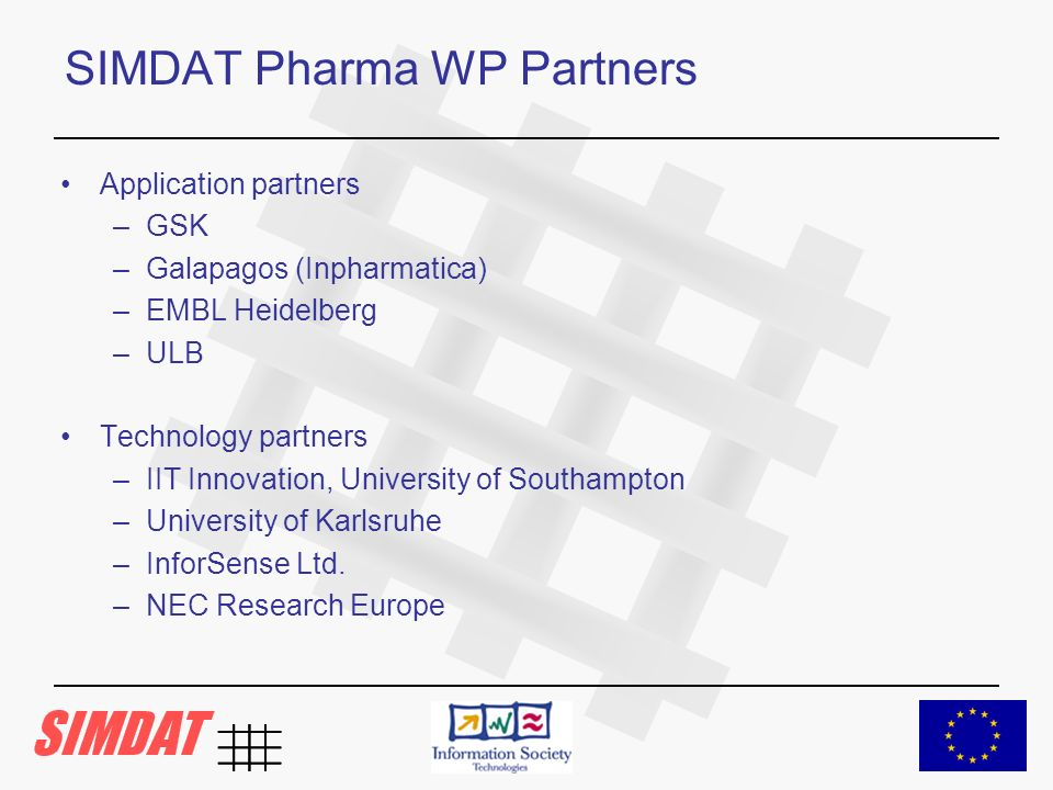 SIMDAT Pharma WP Partners Application partners –GSK –Galapagos (Inpharmatica) –EMBL Heidelberg –ULB Technology partners –IIT Innovation, University of Southampton –University of Karlsruhe –InforSense Ltd.