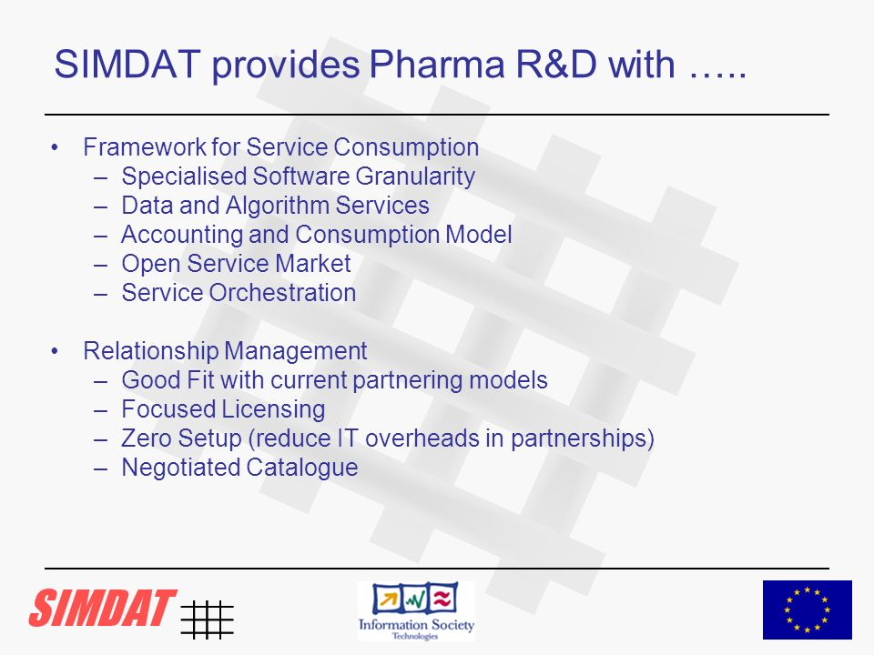 SIMDAT provides Pharma R&D with …..