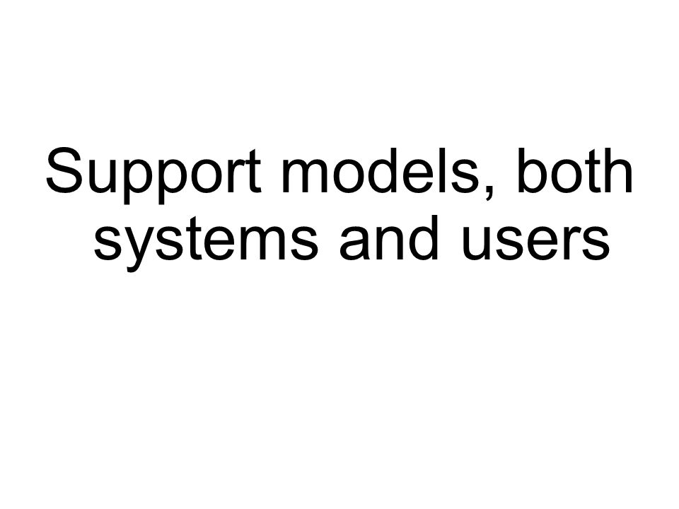 Support models, both systems and users