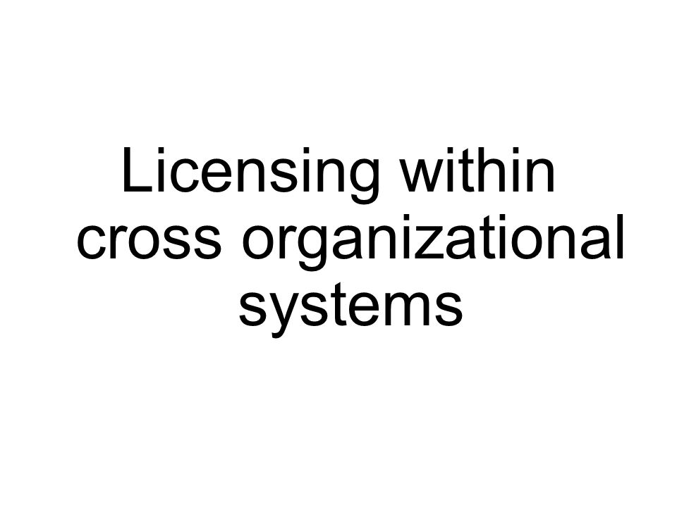 Licensing within cross organizational systems