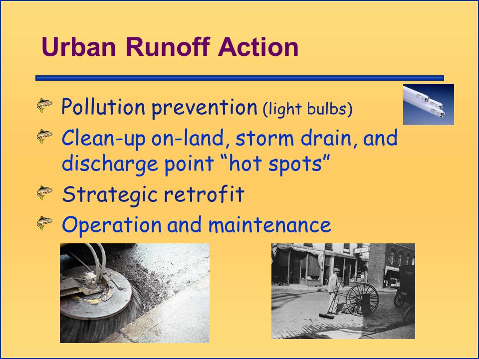 Urban Runoff Action Pollution prevention (light bulbs) Clean-up on-land, storm drain, and discharge point hot spots Strategic retrofit Operation and m