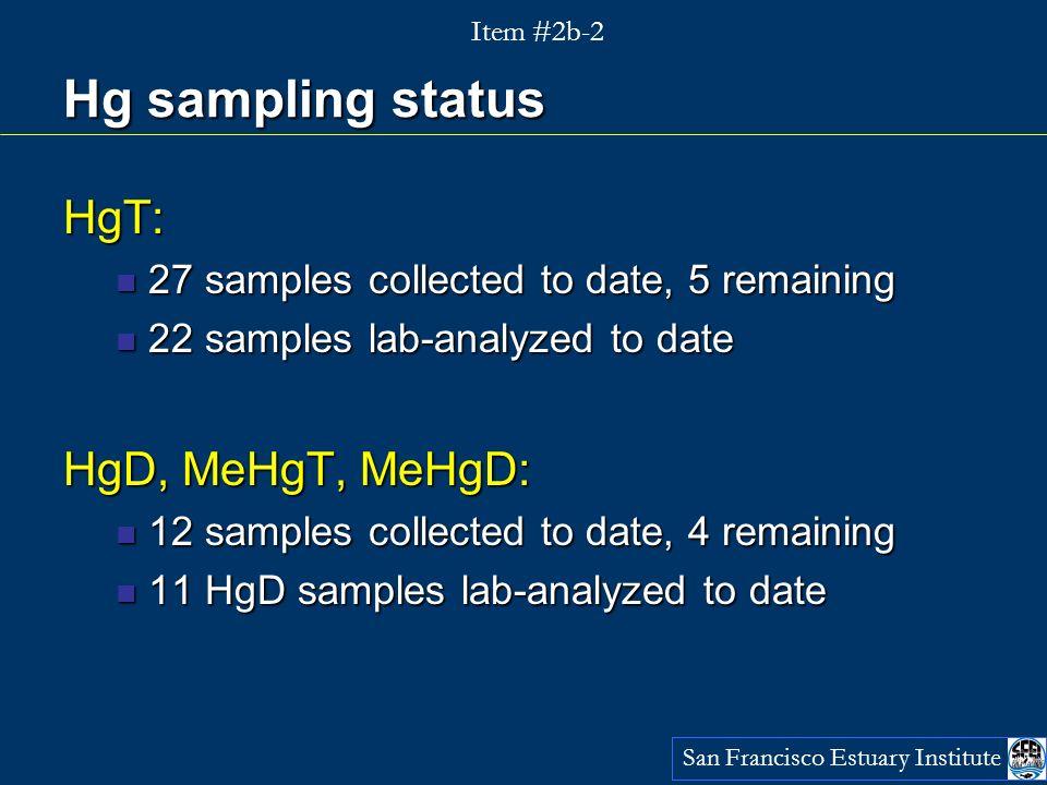 Hg data in so far HgT range (n=22): 3 - 147 ng/L HgT range (n=22): 3 - 147 ng/L San Francisco Estuary Institute Item #2b-2