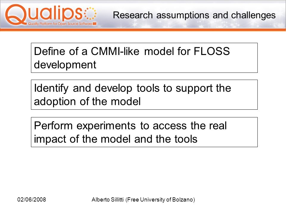 02/06/2008Alberto Sillitti (Free University of Bolzano) Research assumptions and challenges Define of a CMMI-like model for FLOSS development Perform