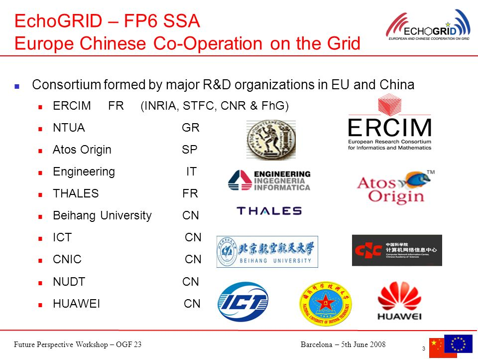 Future Perspective Workshop – OGF 23Barcelona – 5th June 2008 3 EchoGRID – FP6 SSA Europe Chinese Co-Operation on the Grid Consortium formed by major R&D organizations in EU and China ERCIM FR (INRIA, STFC, CNR & FhG) NTUA GR Atos Origin SP Engineering IT THALES FR Beihang University CN ICT CN CNIC CN NUDT CN HUAWEI CN