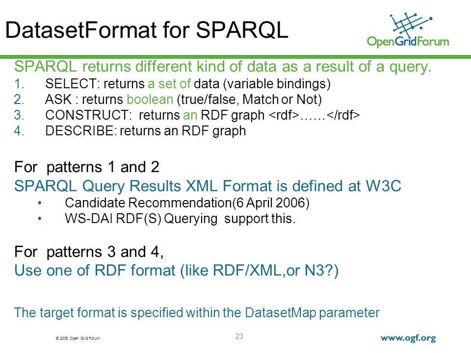 © 2006 Open Grid Forum 23 DatasetFormat for SPARQL SPARQL returns different kind of data as a result of a query.