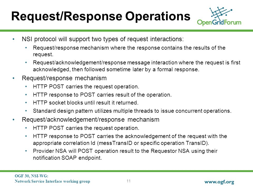 OGF 30, NSI-WG: Network Service Interface working group Request/Response Operations NSI protocol will support two types of request interactions: Request/response mechanism where the response contains the results of the request.