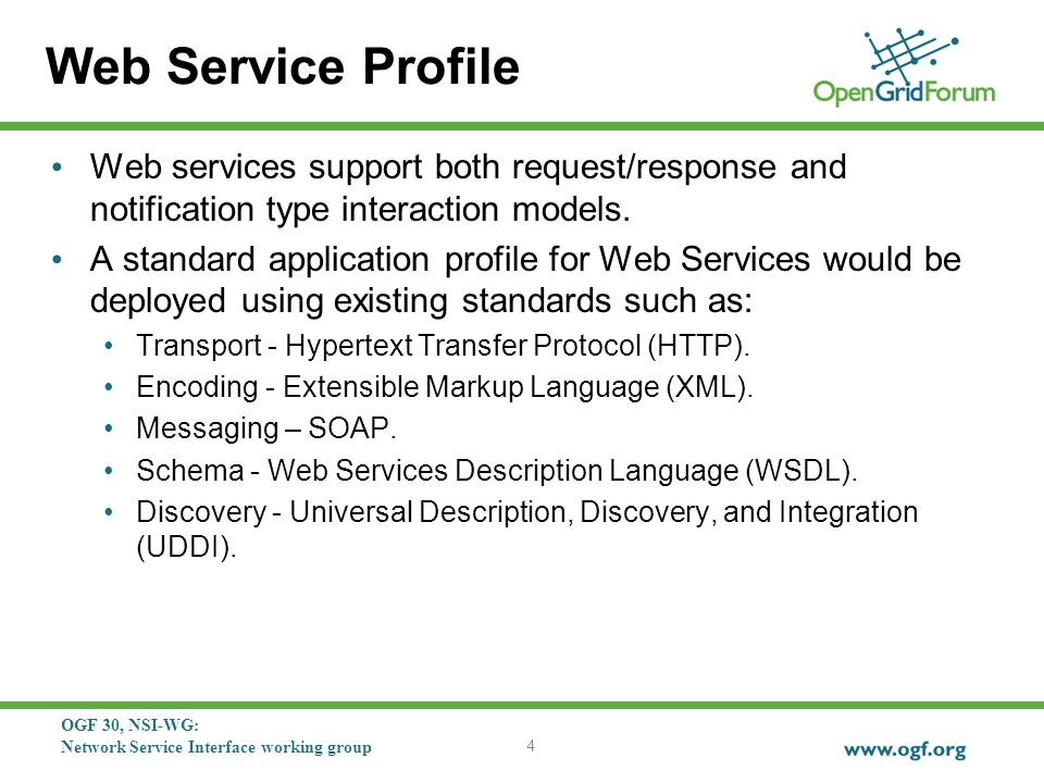 OGF 30, NSI-WG: Network Service Interface working group Web Service Profile Web services support both request/response and notification type interaction models.
