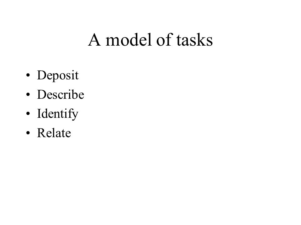 A model of tasks Deposit Describe Identify Relate